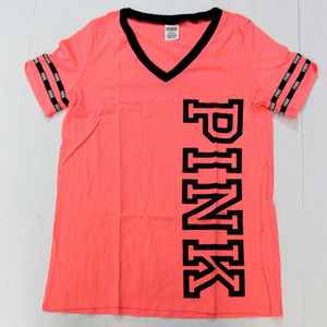 VS PINK Perfect V-Neck Lightweight Logo Tee Coral